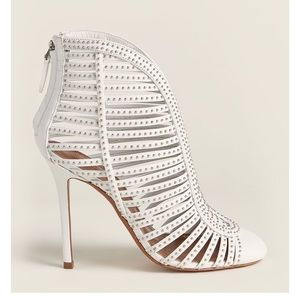 White Studded Caged Leather Booties